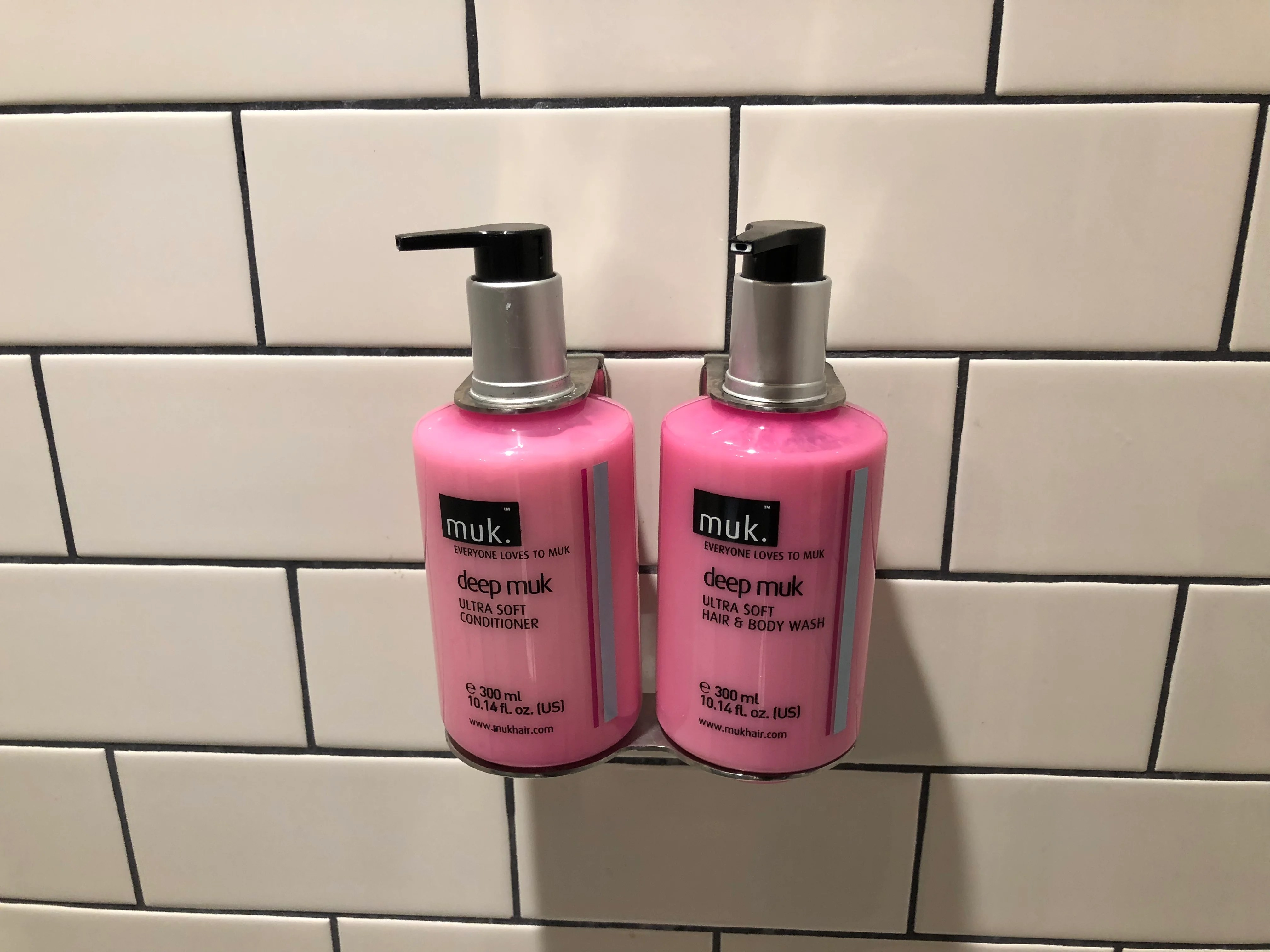 Bulk mounted soap and shampoo at the Moxy Hotel Seattle