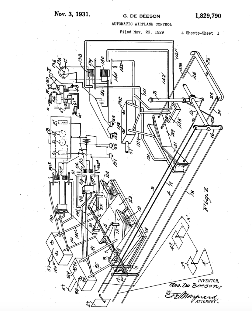Simple enough. Image of autopilot patent filed in 1929.