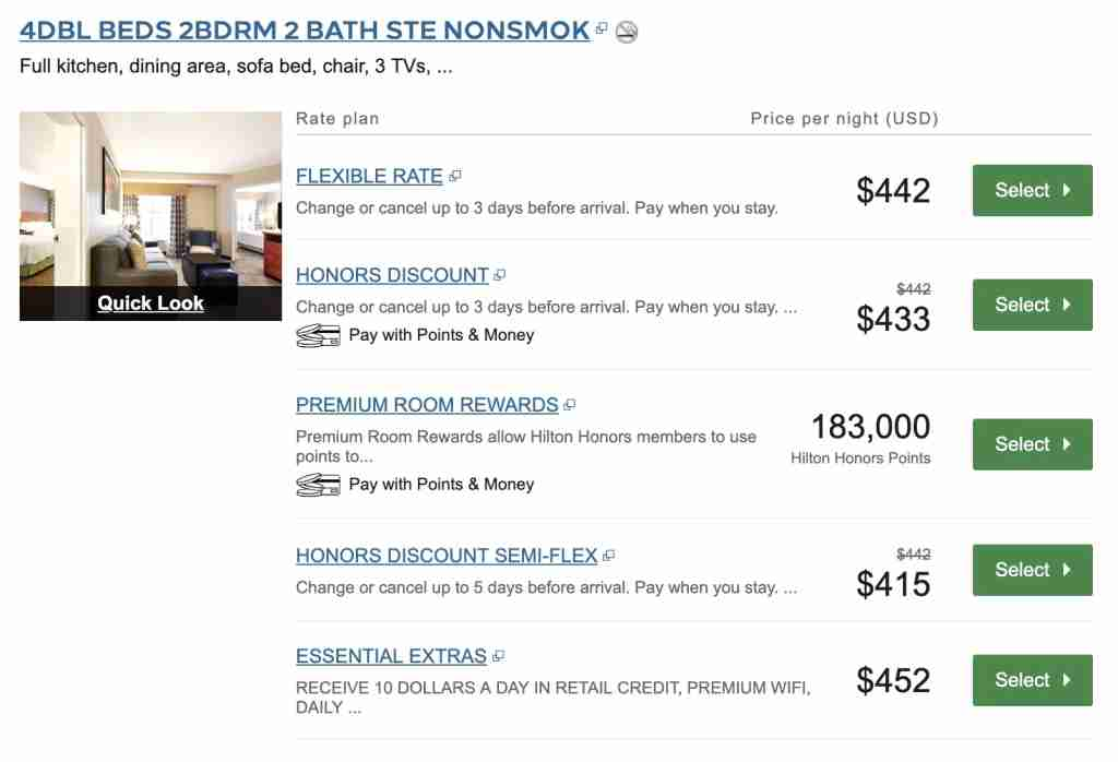 Really Hilton? The 2BR suite costs 25% more in cash but 6 times the points?!?!