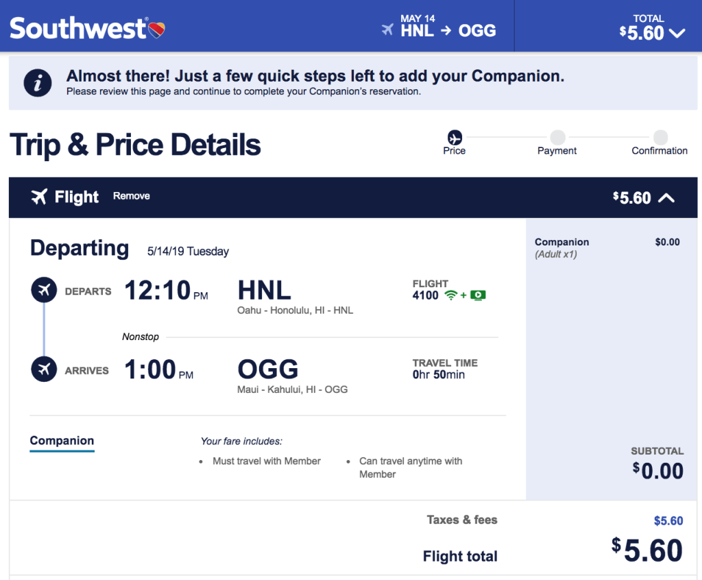 9547bee9eb1d Adding a Companion is easy on Southwest and rang in at just  5.60 in taxes  — here s how to earn one if you now find yourself dreaming of BOGO tickets  to ...
