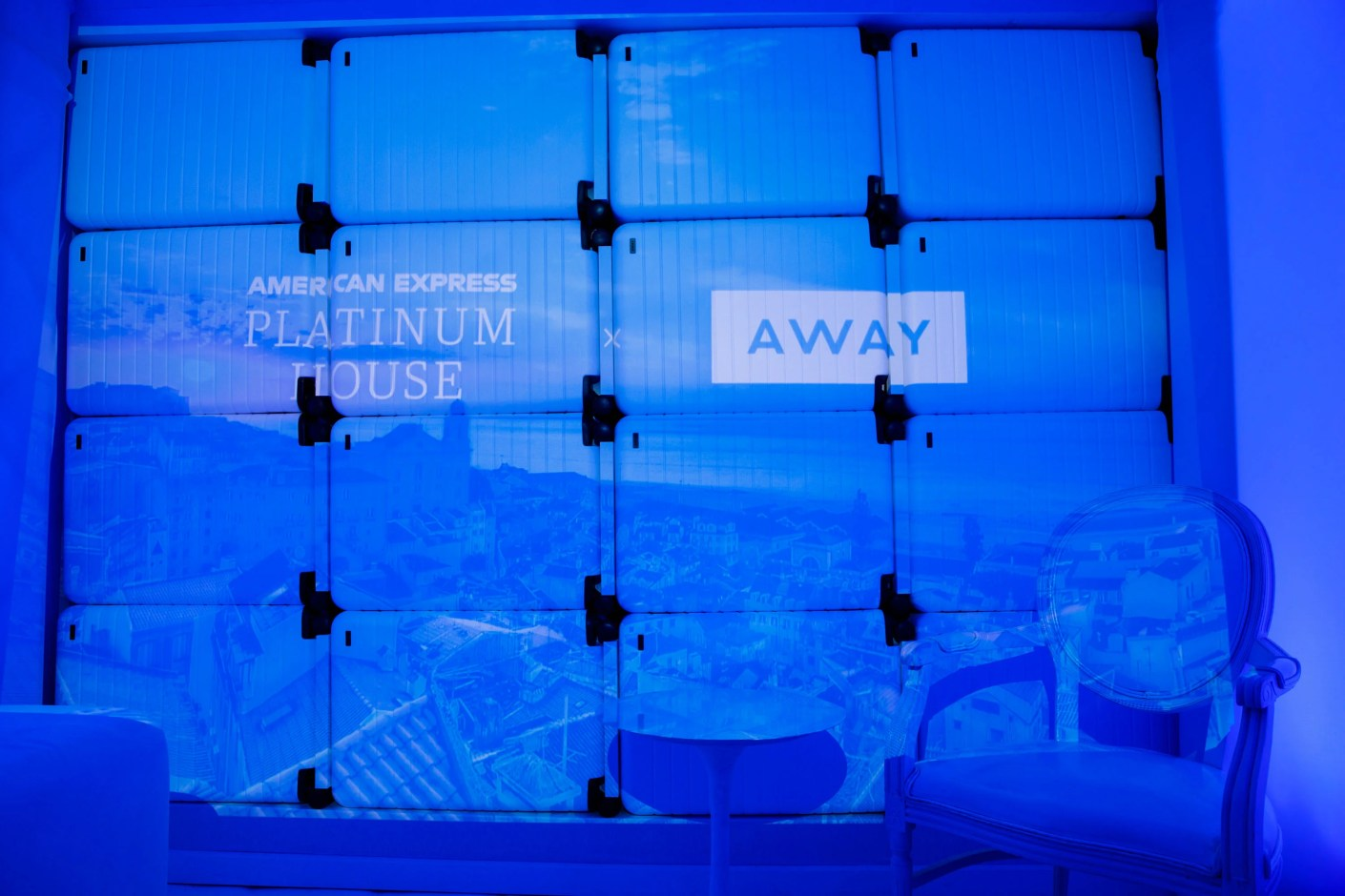 "The Away Travel ""Coast Room"" projection ""Relax in Lisbon as you travel through the calm you need""(Photo by Patrick T. Fallon/The Points Guy)"
