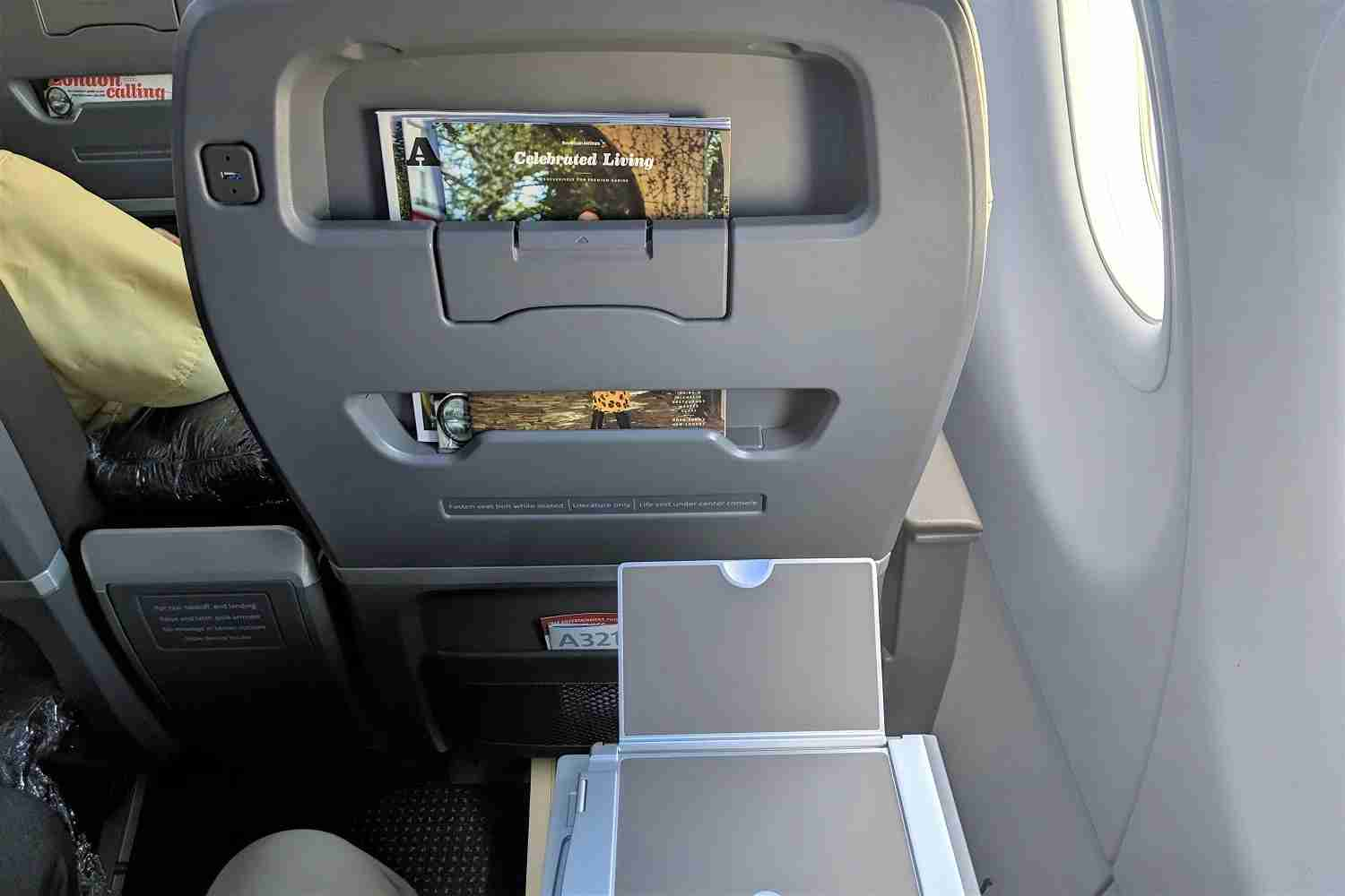 Tray table device holder and seat back on American Airlines