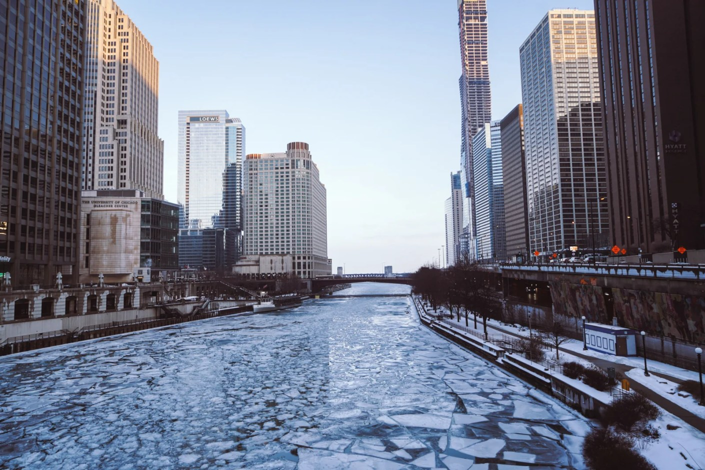 A frozen-over Chicago River. (Photo by Yomex Owo / Unsplash)
