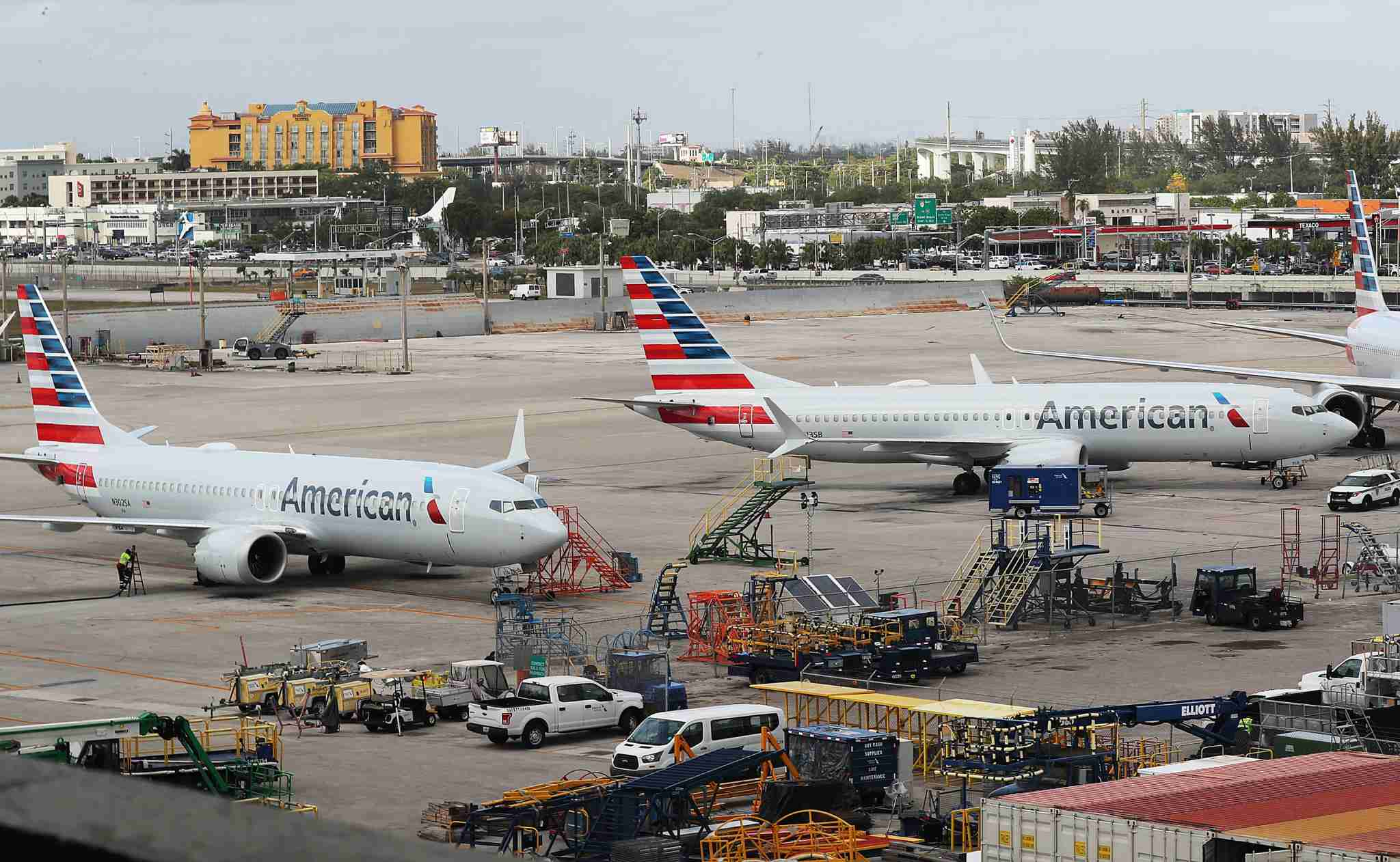 MIAMI, FL - MARCH 14: Two grounded American Airlines Boeing 737 Max 8 are seen parked at Miami International Airport on March 14, 2019 in Miami, Florida. The Federal Aviation Administration grounded the entire United States Boeing 737 Max fleet. (Photo by Joe Raedle/Getty Images)