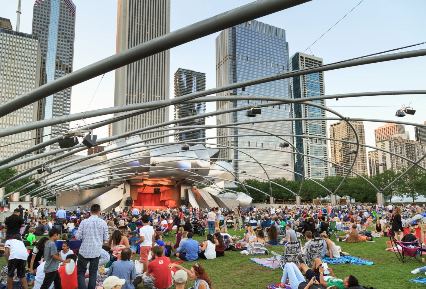 A crowd watching the Grant Park Symphony at the Jay Pritzker Pavilion in Chicago. (Photo by Education Images/UIG via Getty Images)