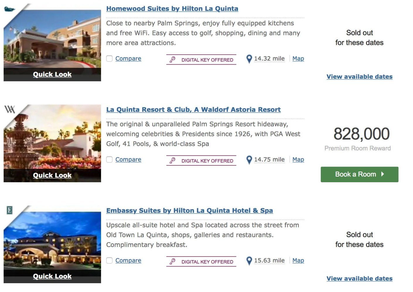 These properties - while nice - were either sold out or asking for way more points per night.