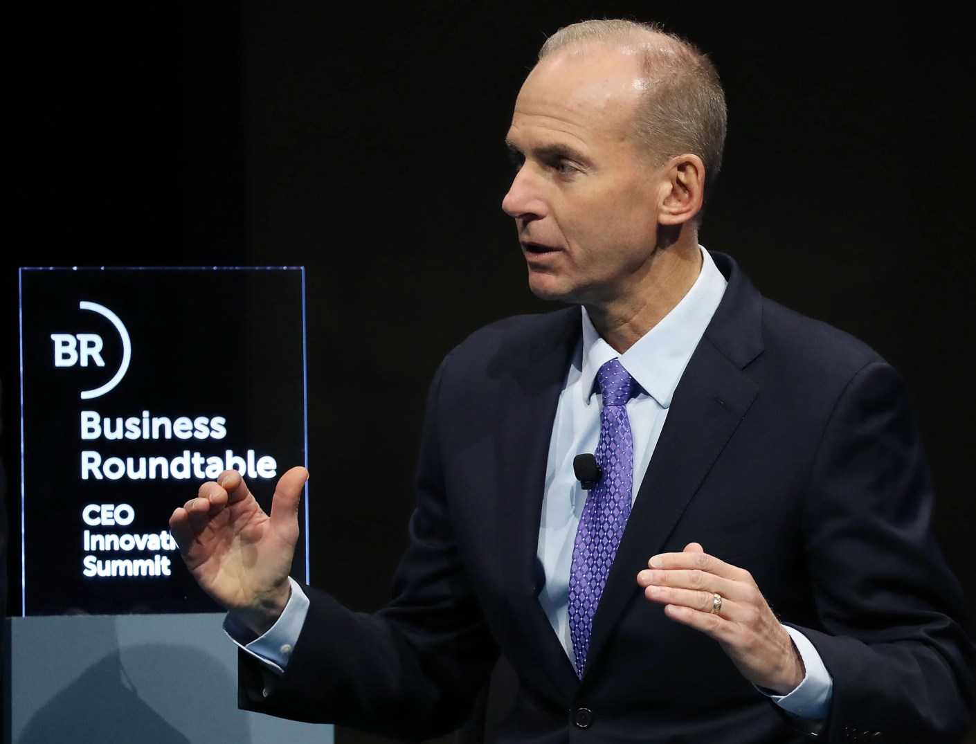 "WASHINGTON, DC - DECEMBER 06: Dennis Muilenburg, chairman, president and CEO of the Boeing Company, participates in a Business Roundtable discussion on ""Ambitious Innovation"" sustaining U.S. leadership, during a CEO Innovation Summit, on December 6, 2018 in Washington, DC. (Photo by Mark Wilson/Getty Images)"