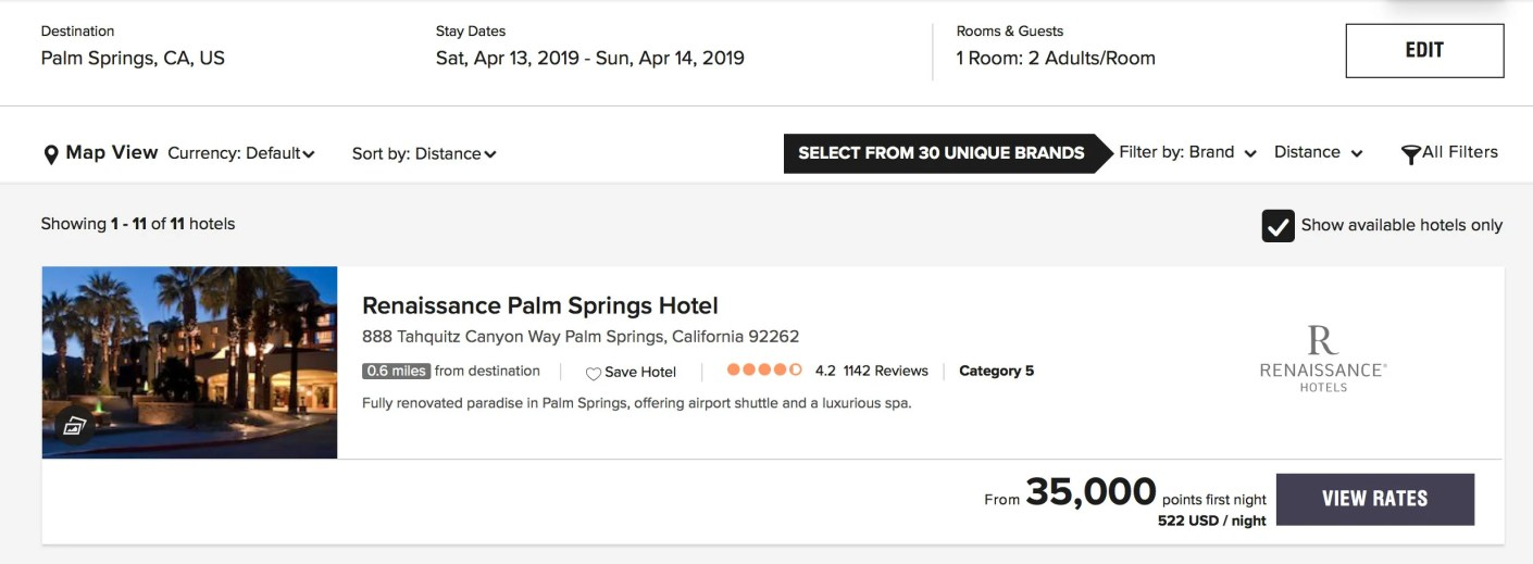 Only 35,000 Bonvoy points instead of $577/night plus tax.