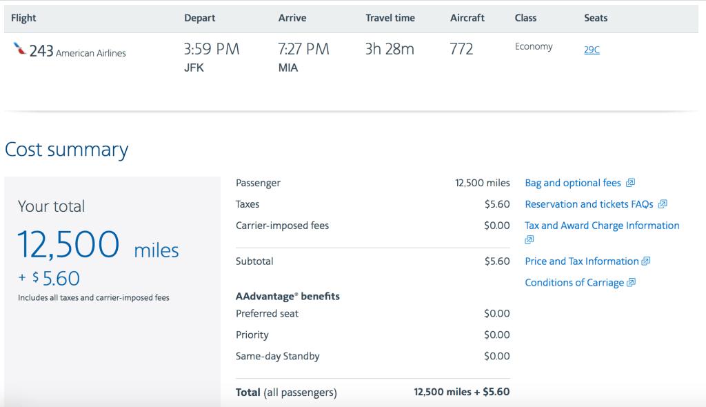 Redeem 12,500 AAdvantage miles for the exact same flight.