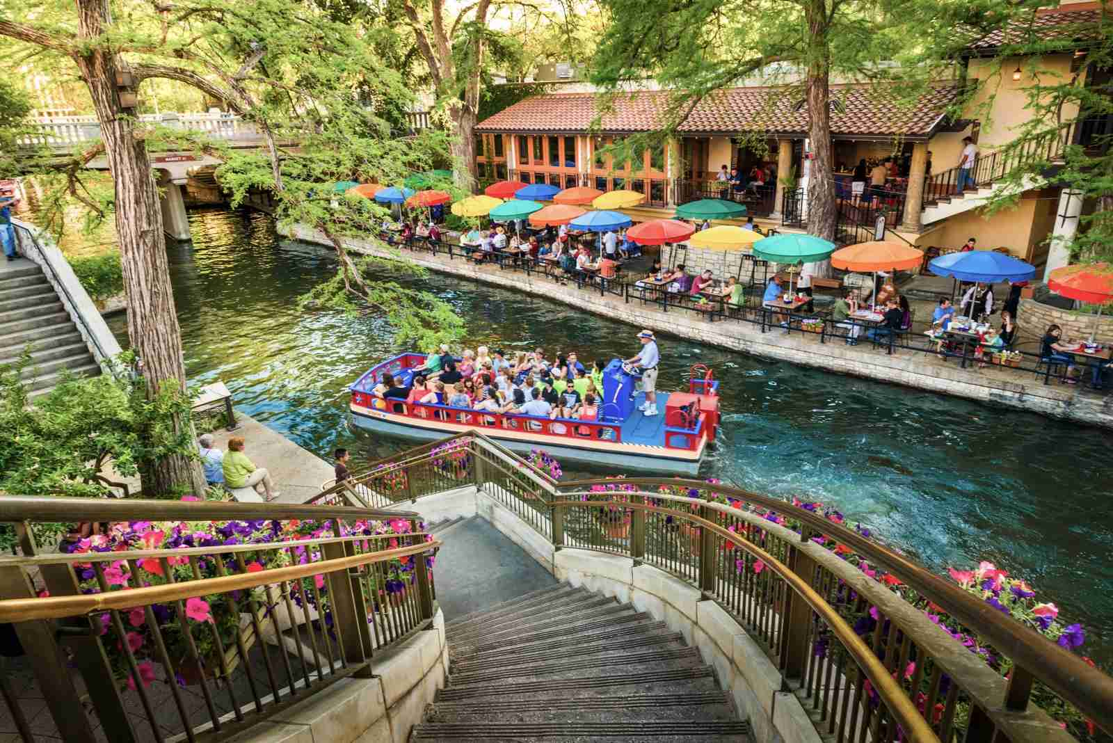 The San Antonio River Walk and the scenic canal tours via boat.(Photo by dszc/Getty Images)