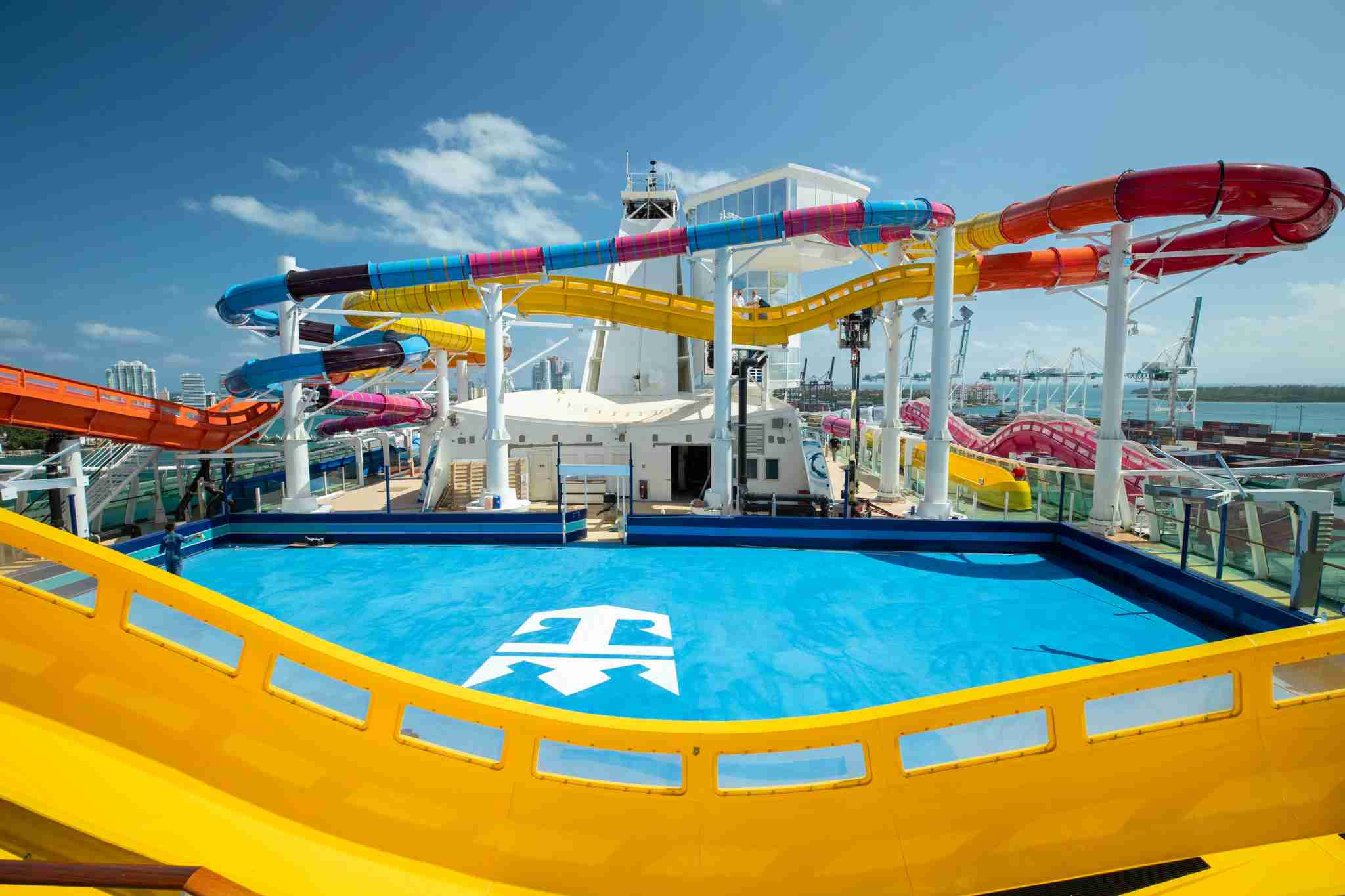 The Blaster and Rip Tide slides on Navigator of the Seas Royal Amplified. Photo courtesy of Royal Caribbean International.