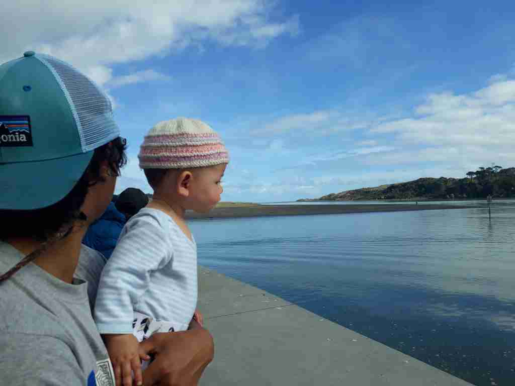 Daddy and daughter at Raglan, New Zealand. Photo: Elen Turner