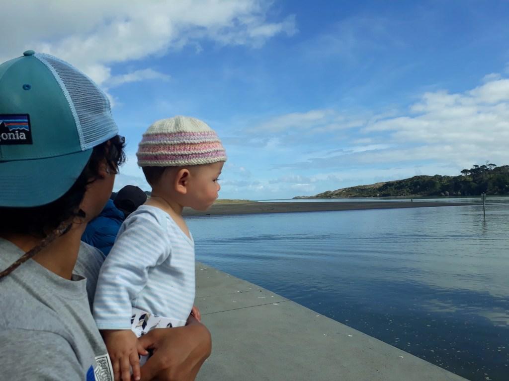 Daddy and daughter at Raglan, New Zealand. Photo: Elen Turner