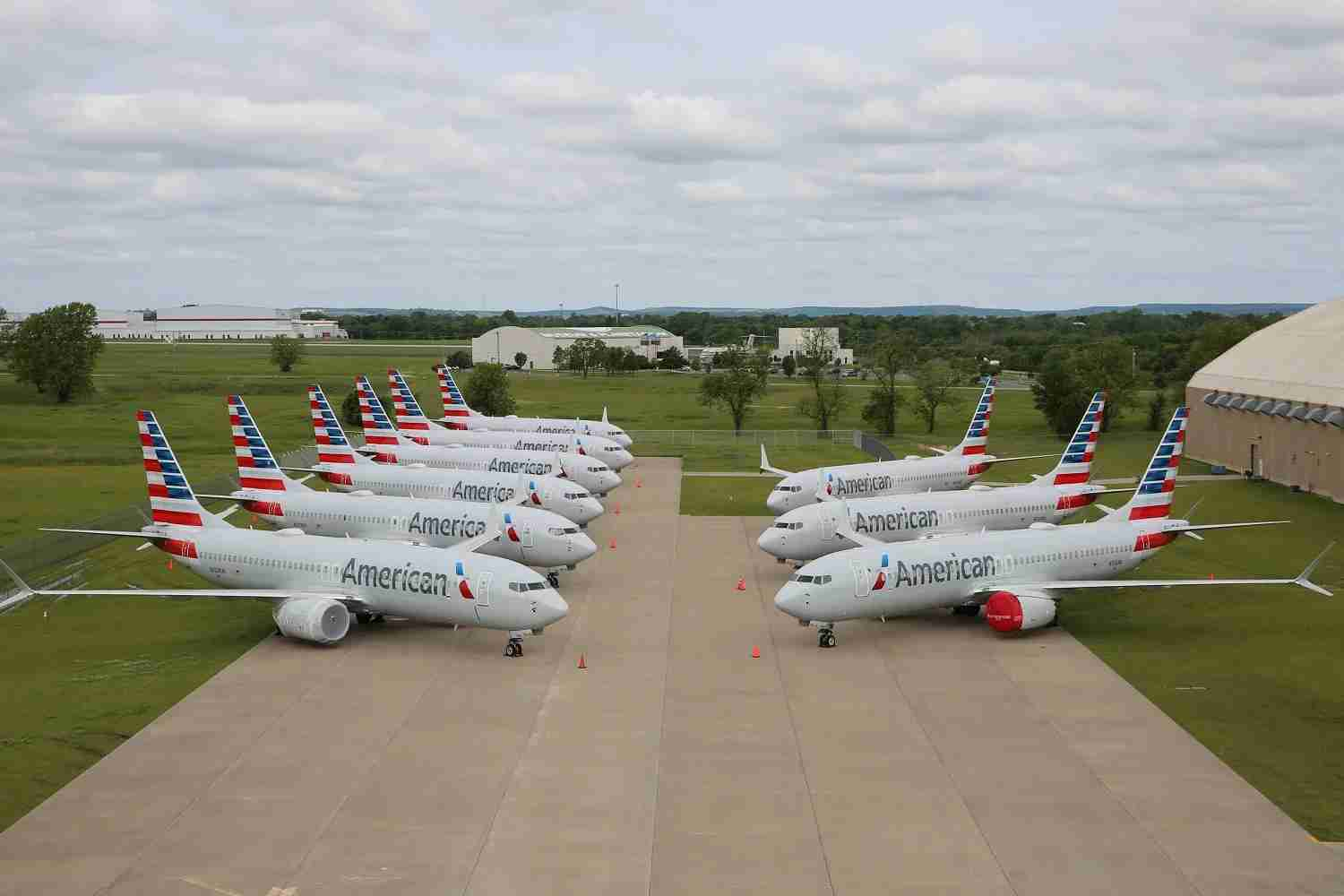 American 737 MAX 8 aircraft stored in Oklahoma. (Photo courtesy of American Airlines)