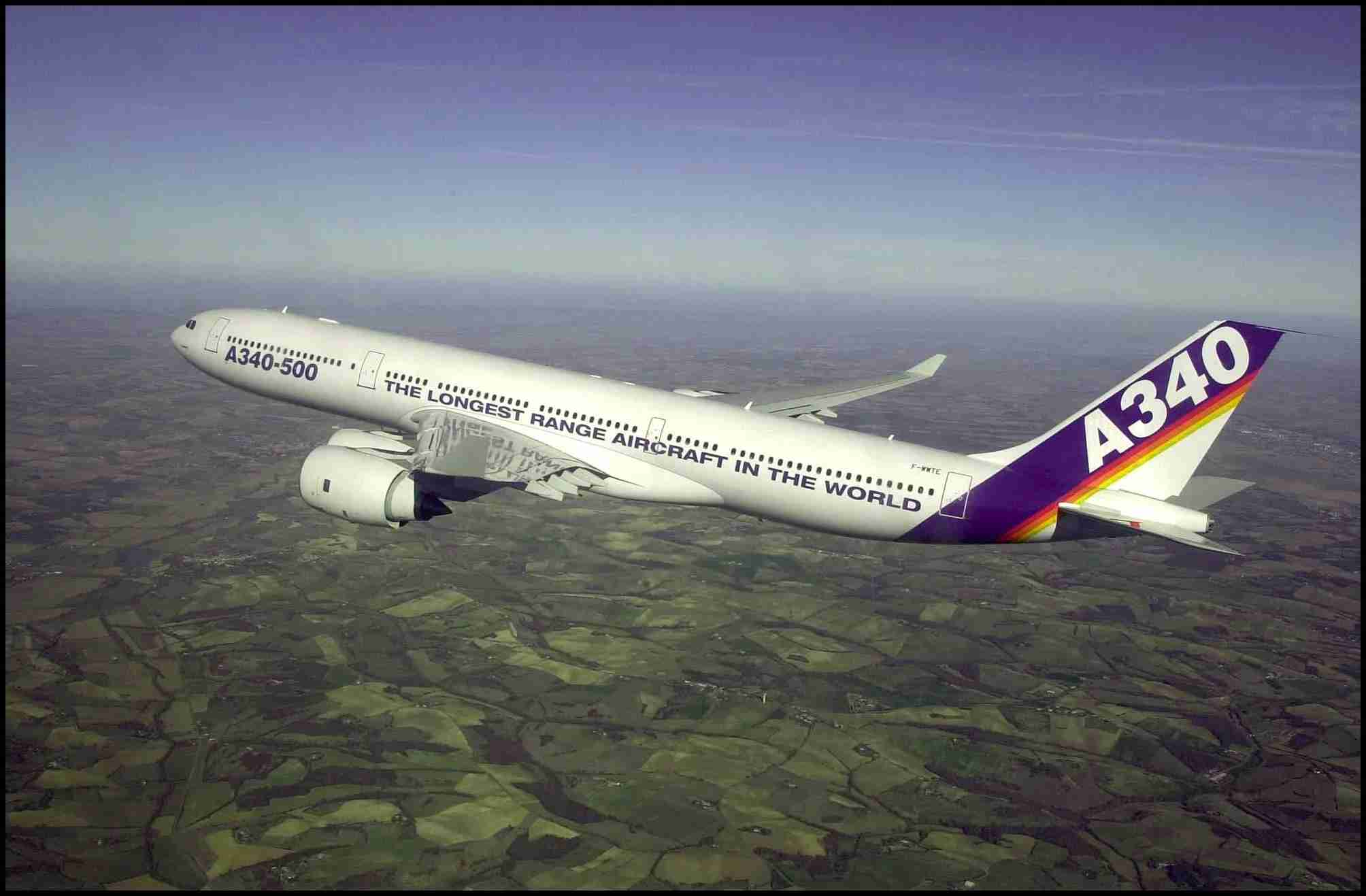 """FRANCE - FEBRUARY 11: Airbus latest plane in an """"ultra long -haul aircraft A340 -500"""" took off its first flight in Toulouse, France on February 11, 2002. (Photo by 2086/Gamma-Rapho via Getty Images)"""