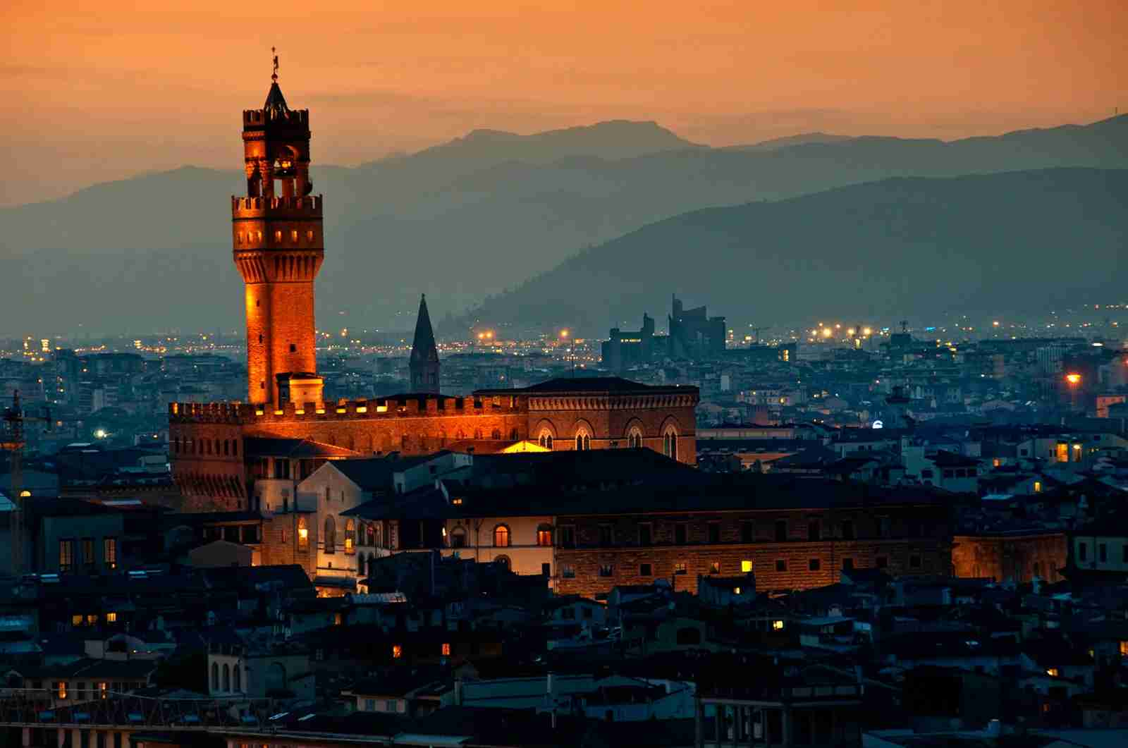 Palazzo Vecchio at dusk. (Photo by Photo Art by Mandy / Getty Images)