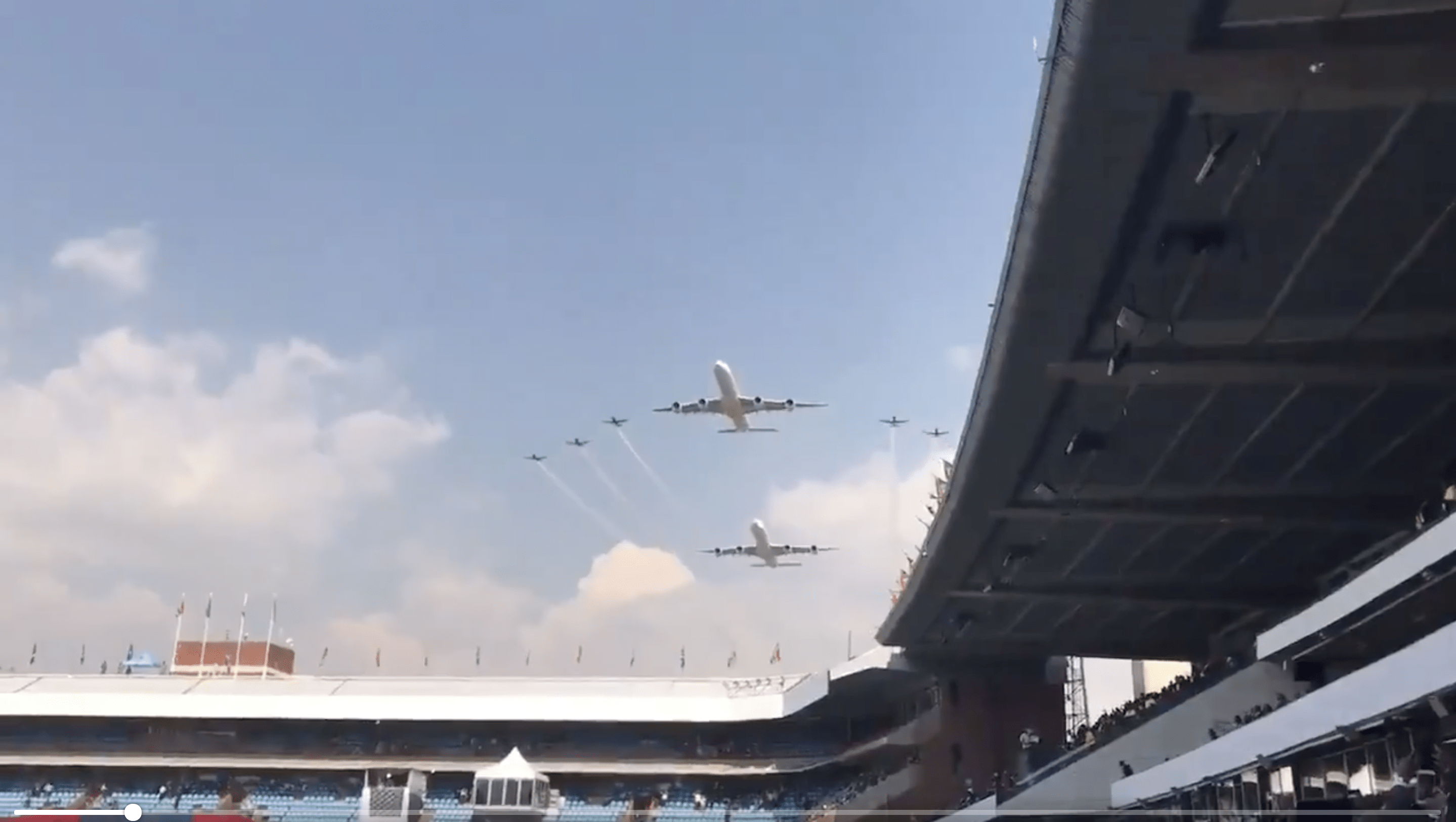 Watch Airbus A340s Perform a Stunning Flyby Over a South African Stadium