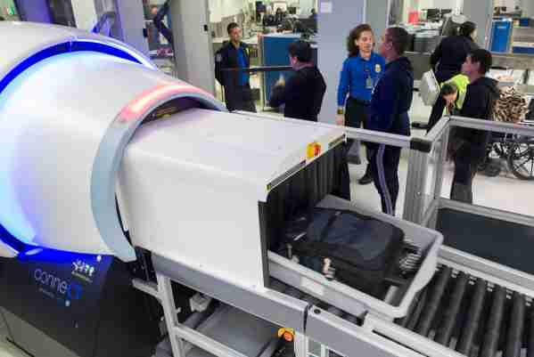 MIAMI, FLORIDA - MAY 21: Carry on bags are seen entering the Transportation Security Administration (TSA) new 3-D scanner at the Miami International Airport on May 21, 2019 in Miami, Florida. TSA has begun using the new 3-D computed tomography (CT) scanner in a checkpoint lane to detect explosives and other prohibited items that may be inside carry-on bags.  (Photo by Joe Raedle/Getty Images)