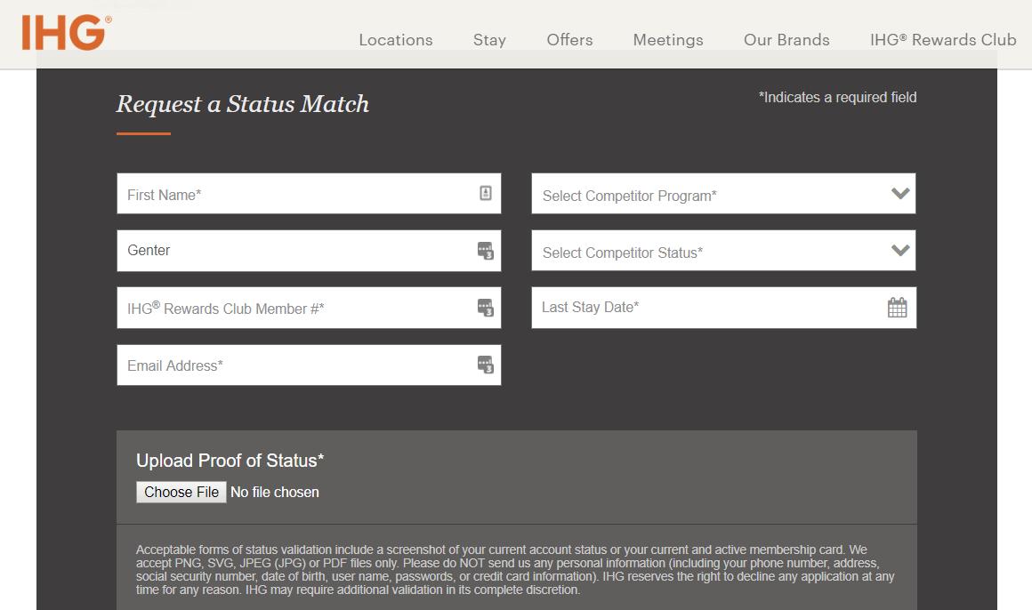 IHG Launches Limited-Quantity Elite Status Match