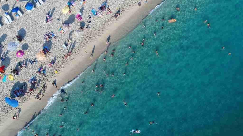 Aerial view of summer sea beach