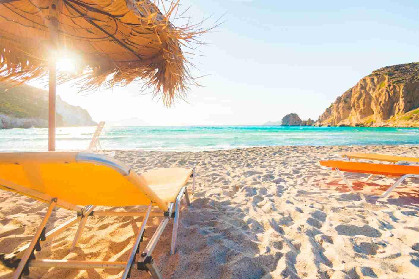 Sunset in Plathiena, a wonderful beach in Milos, Cyclades Islands, Greece