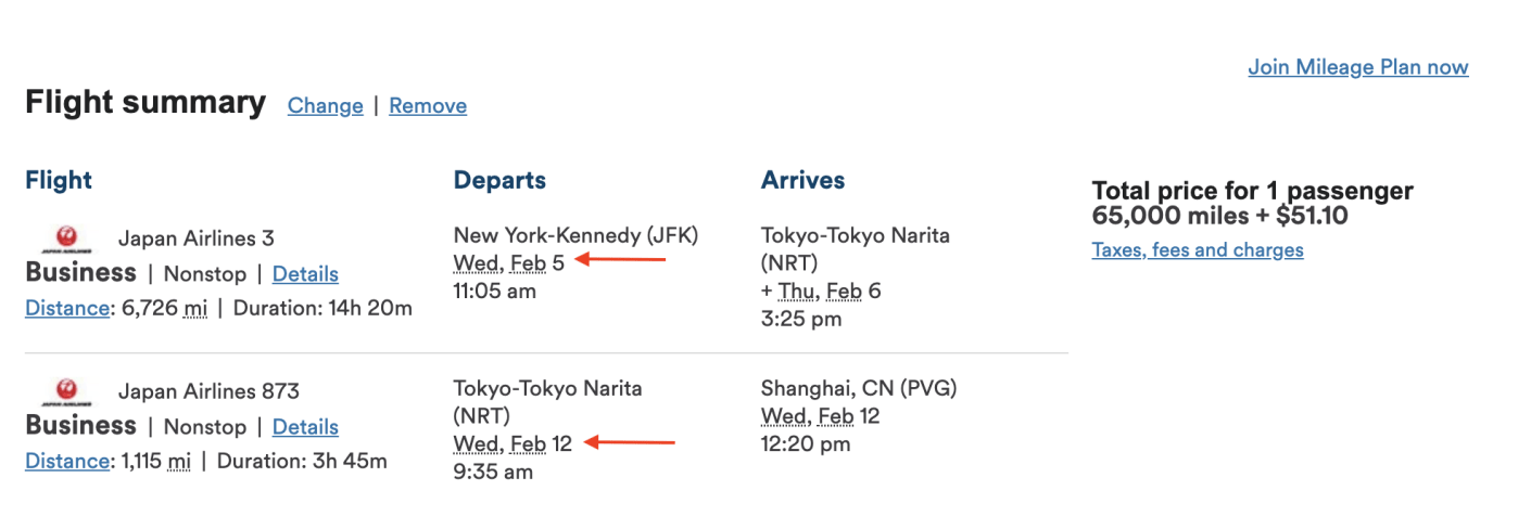 A business class award from New York to Shanghai with a one week stopover in Tokyo
