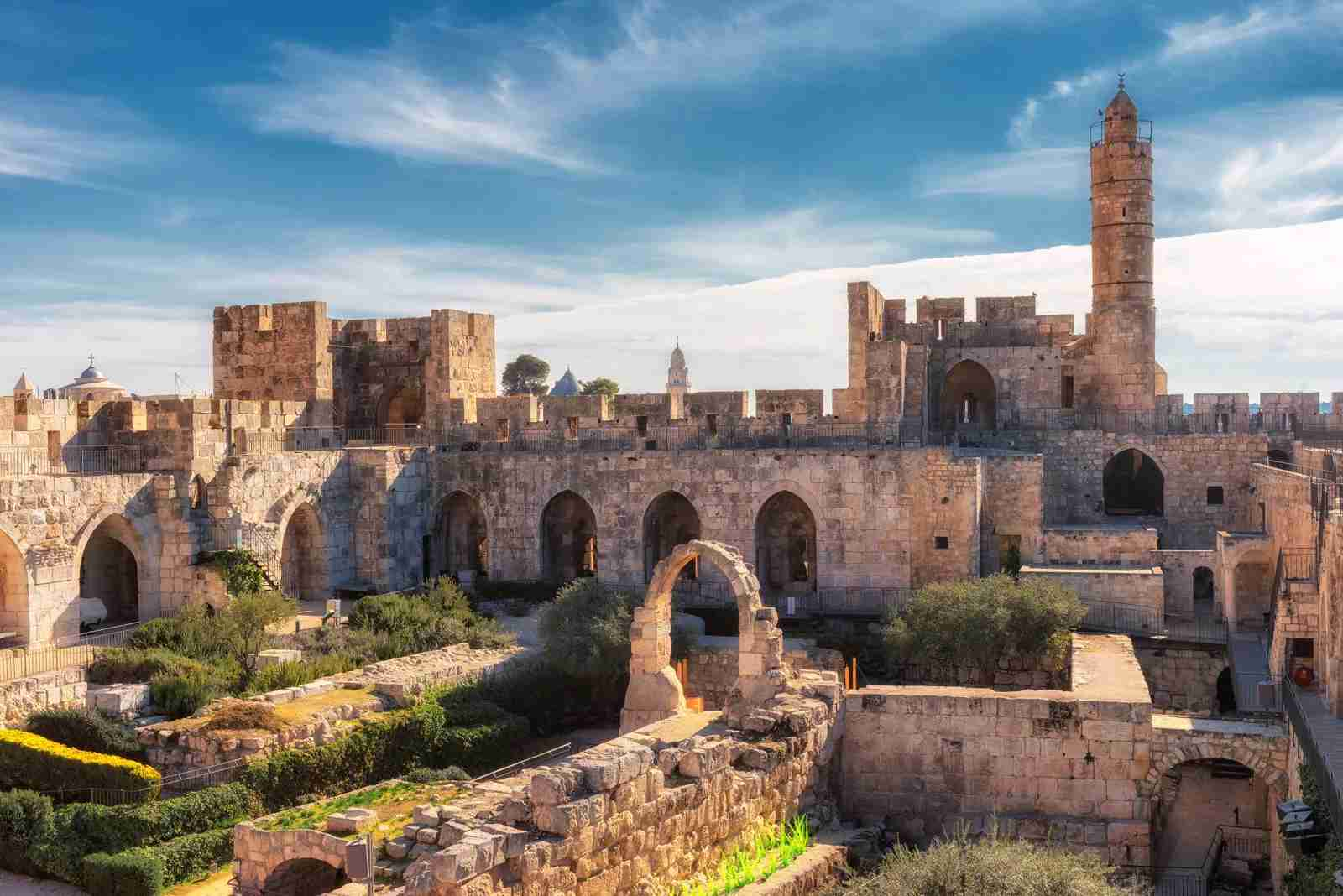 An ancient citadel and the Tower of David in Jerusalem