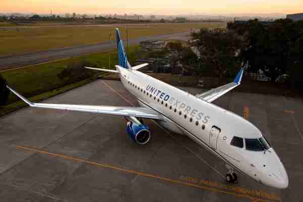 This image provided by Embraer shows an Embraer E175 in a United Express livery. (Photo courtesy of Embraer)