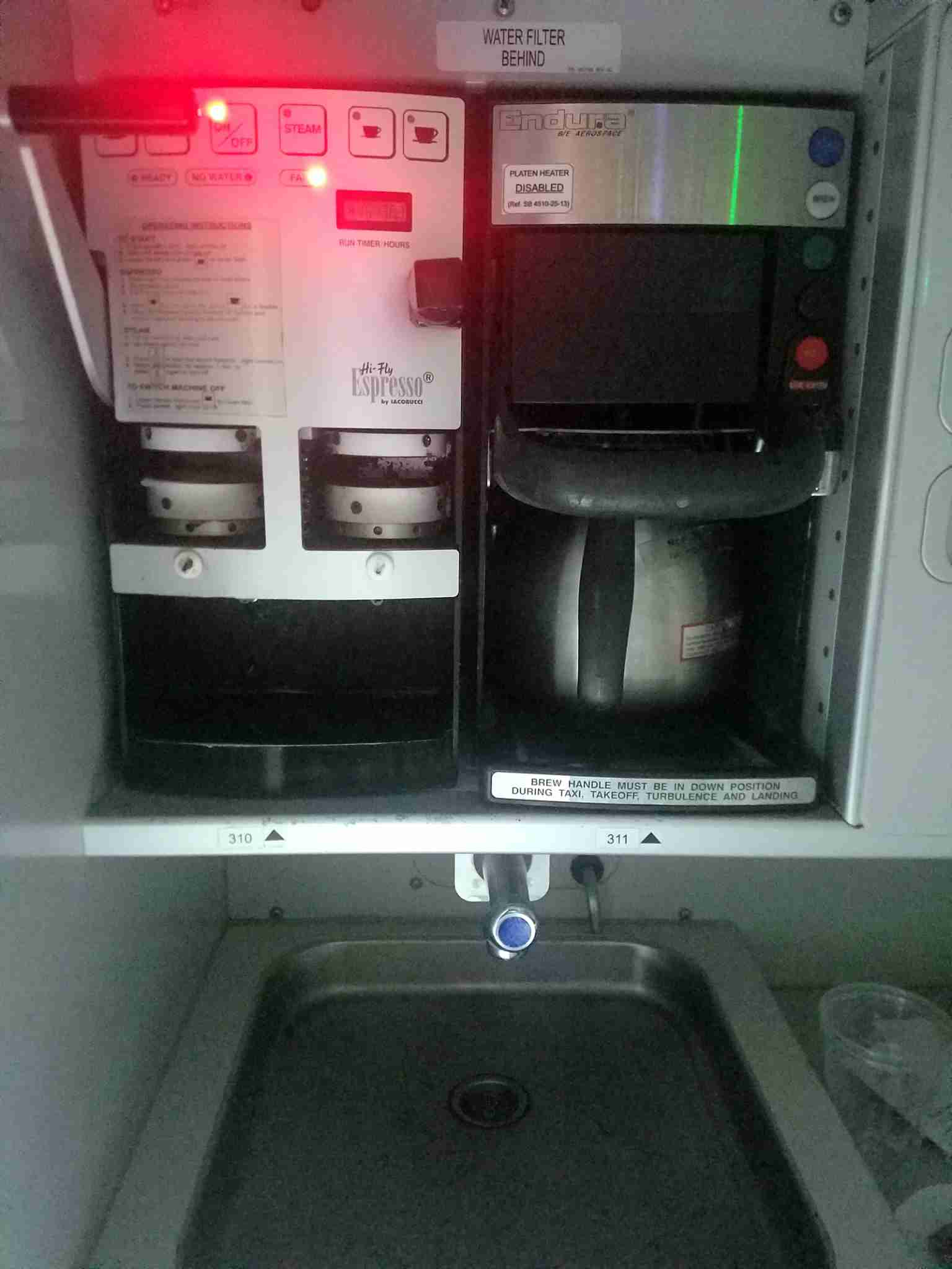 An espresso maker in the galley of an Alitalia Airbus A330 (Photo by Alberrto Riva/TPG)