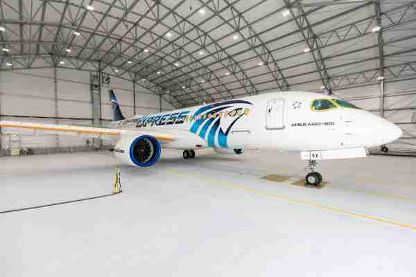 EgyptAir's first Airbus A220-300 rolls out of the paint shop. Photo courtesy of Airbus.