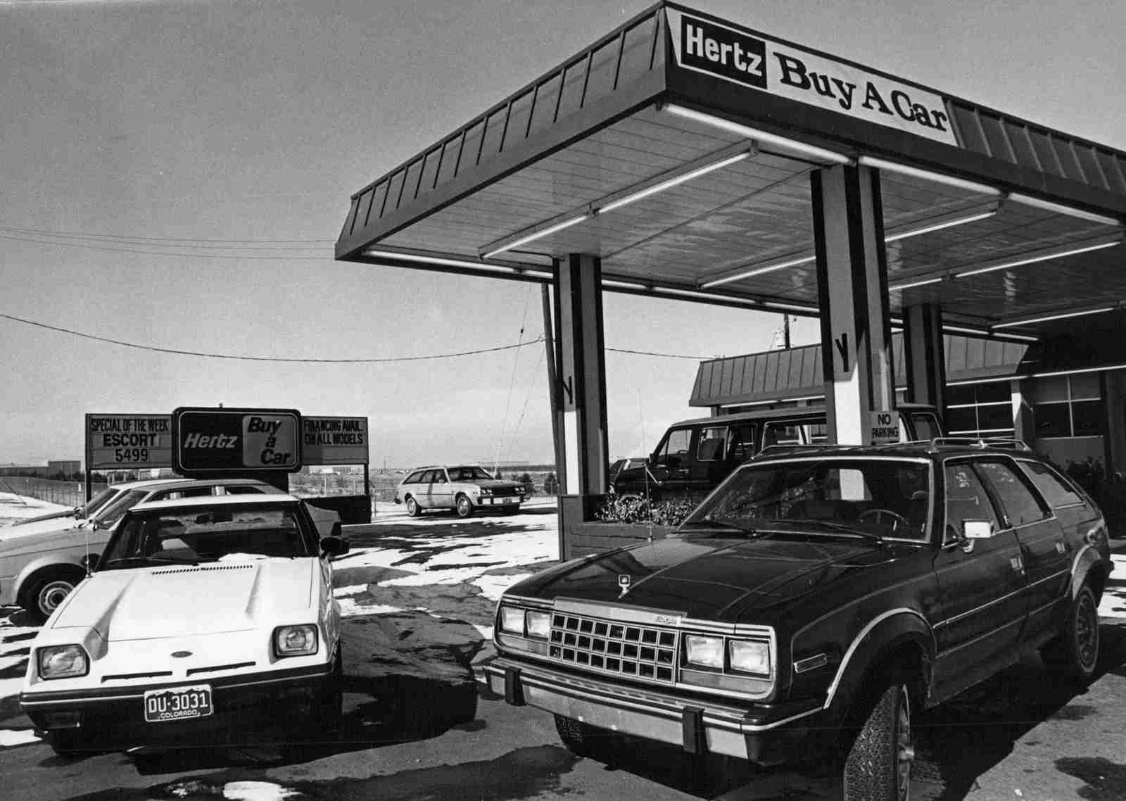 A Hertz car lot in 1982. (Photo by the Denver Post / Getty Images)