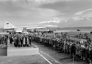 The Tupolev Tu-144 supersonic jet airplane of Aeroflot Soviet Airlines pictured during a welcome communist meeting dedicated to the first passenger flight of the type from Moscow to Alma-Ata (Almaty) airport, Kazakhstan, USSR. (Photo by: aviation-images.com/Universal Images Group via Getty Images)