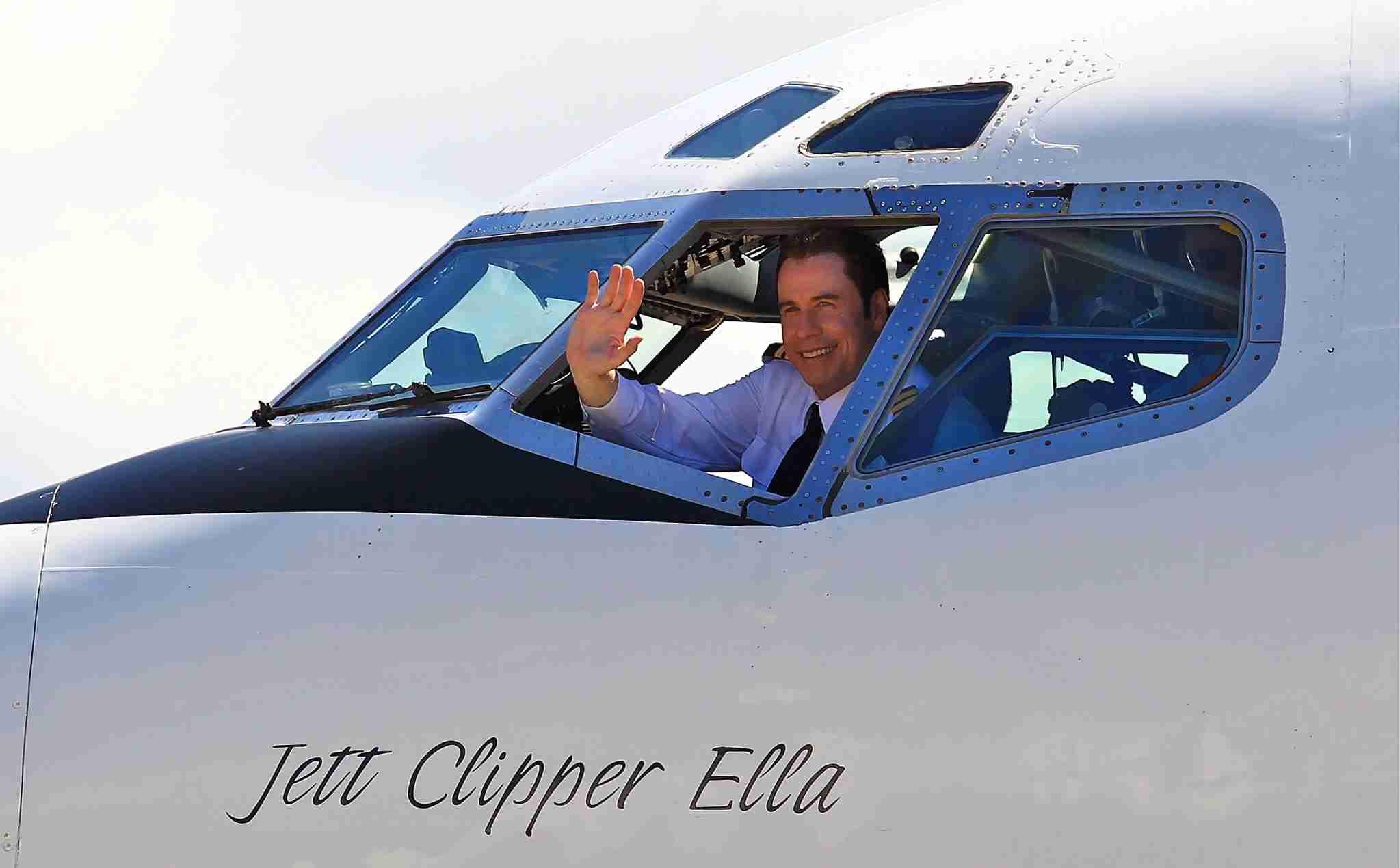 BRISBANE, AUSTRALIA - NOVEMBER 7: Qantas Ambassador John Travolta arrives in his V-Jet 707 at Qantas
