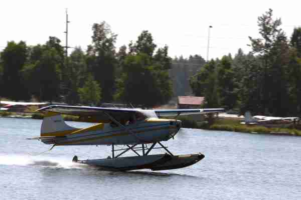 ANCHORAGE, AK - JULY 04: A floatplane departs from Lake Hood Seaplane Base on July 4, 2019 in Anchorage, Alaska. Alaska is bracing for record warm temperatures and dry conditions in parts of the state. (Photo by Lance King/Getty Images)