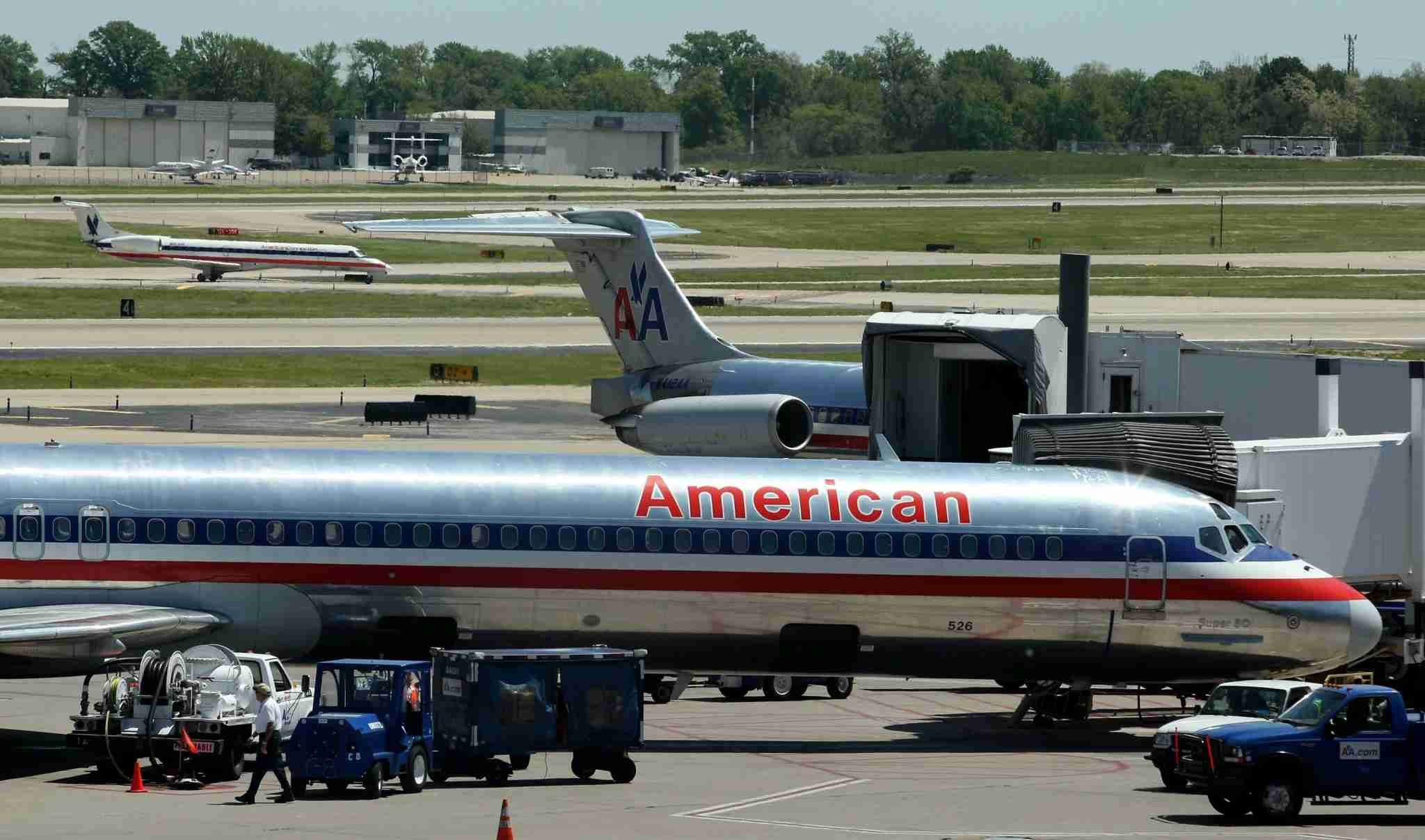 American Airlines aircraft are seen at St. Louis-Lambert International Airport in 2008. (Photo by Whitney Curtis/Bloomberg via Getty Images)