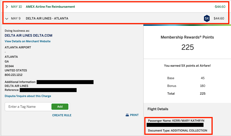 How can I use my Amex airline fee credits?