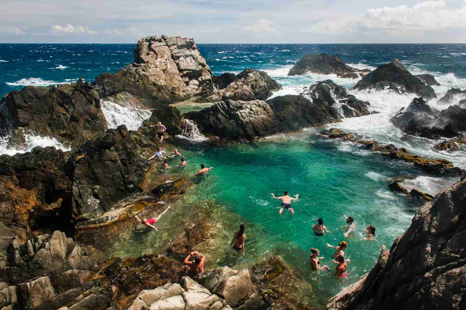 A natural pool in Arikok National park on the North coast of Aruba. (Photo by Marc Guitard / Getty Images)