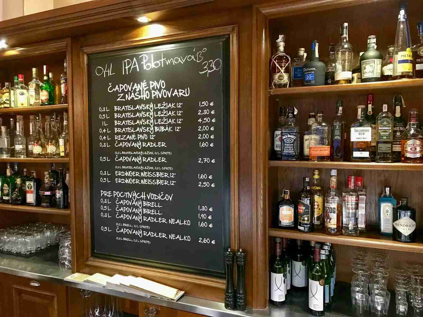 The beers of the day are scrawled on a blackboard at Bratislava Meštiansky Pivovar.Photo by Gene Sloan / The Points Guy