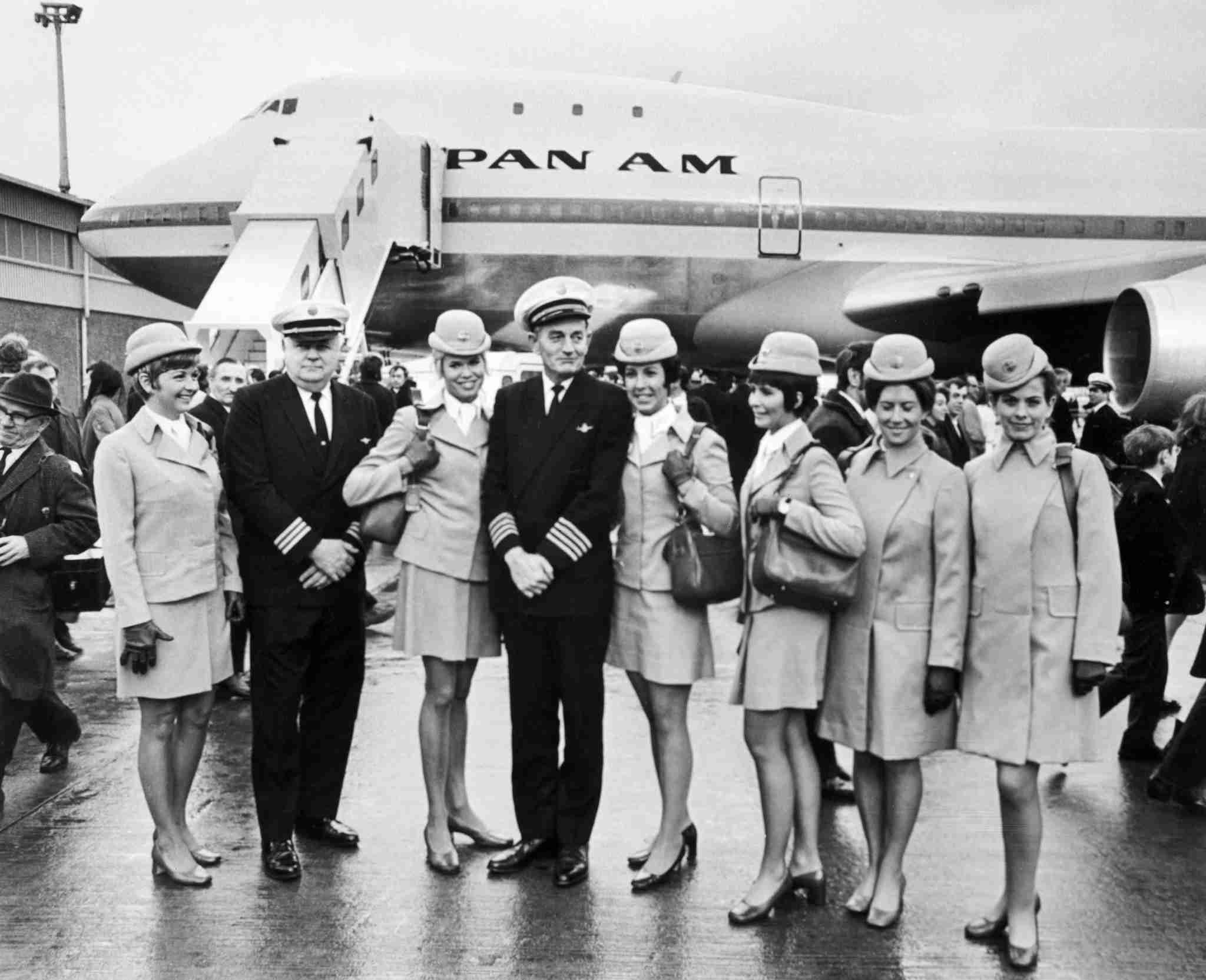 Family picture taken on January 13, 1970 of the aircrew of the first commercial flight of the Boeing 747 from New York to London for Pan American. On September 30, 1968, the first 747 was rolled out of the Everett assembly building before the world