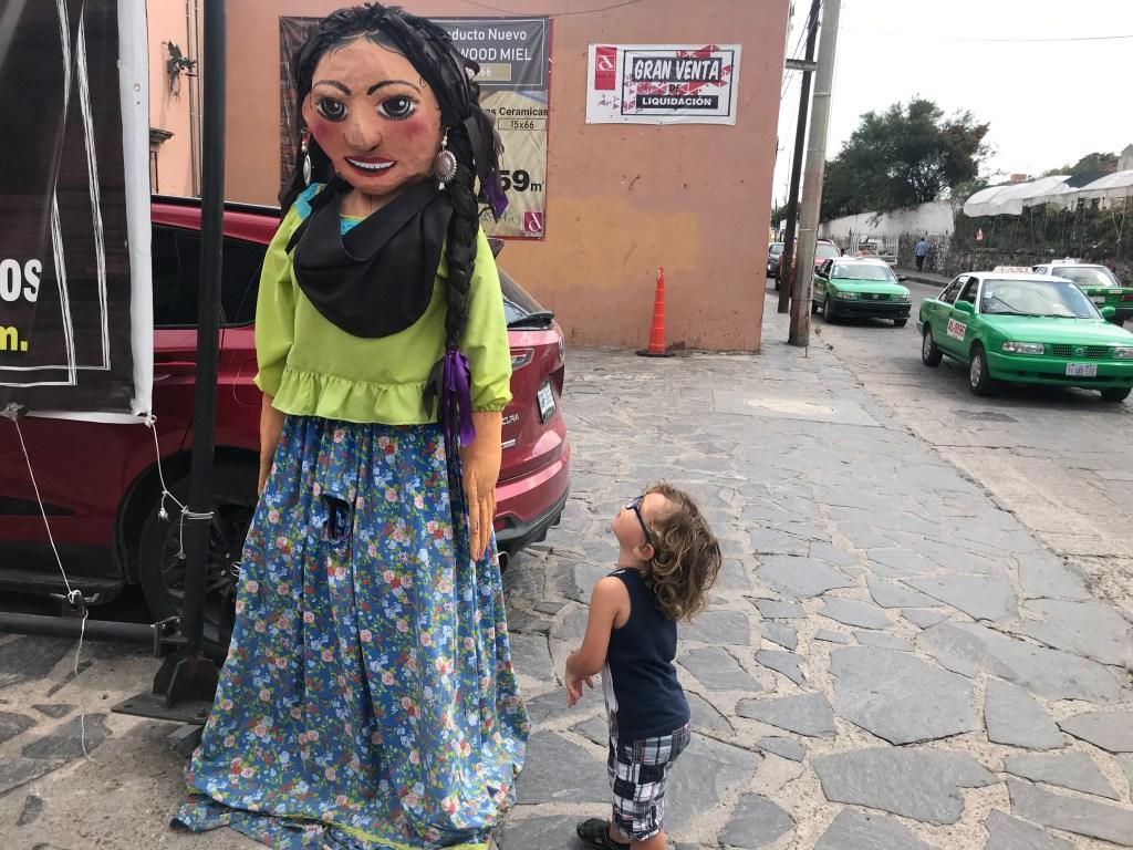 Street scene in San Miguel de Allende, where oversized puppets abound (Terry-Ward.com)
