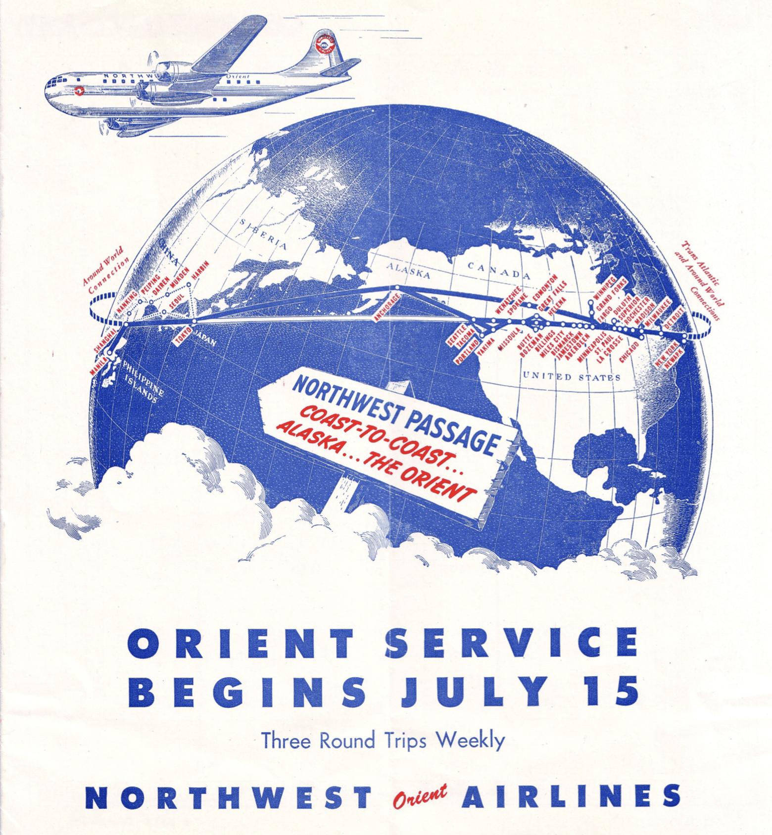 The Northwest Orient Airlines route map showing new service to Asia in July 1947. (Image courtesy of