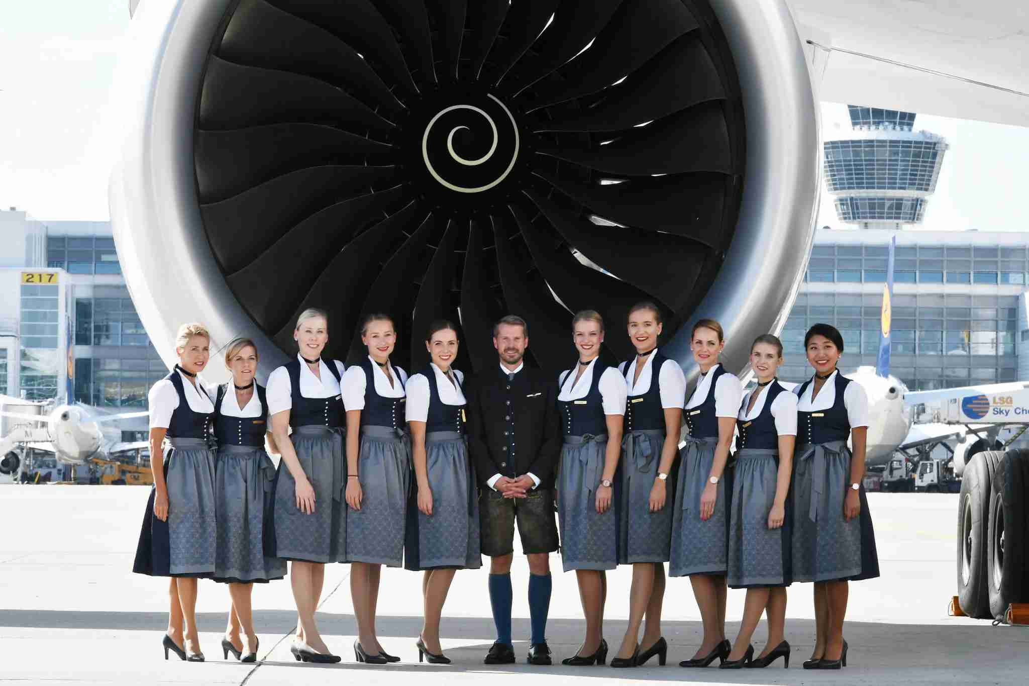 These Bavarian outfits were designed by Munich-based Angermaier. (Photo by Lufthansa)