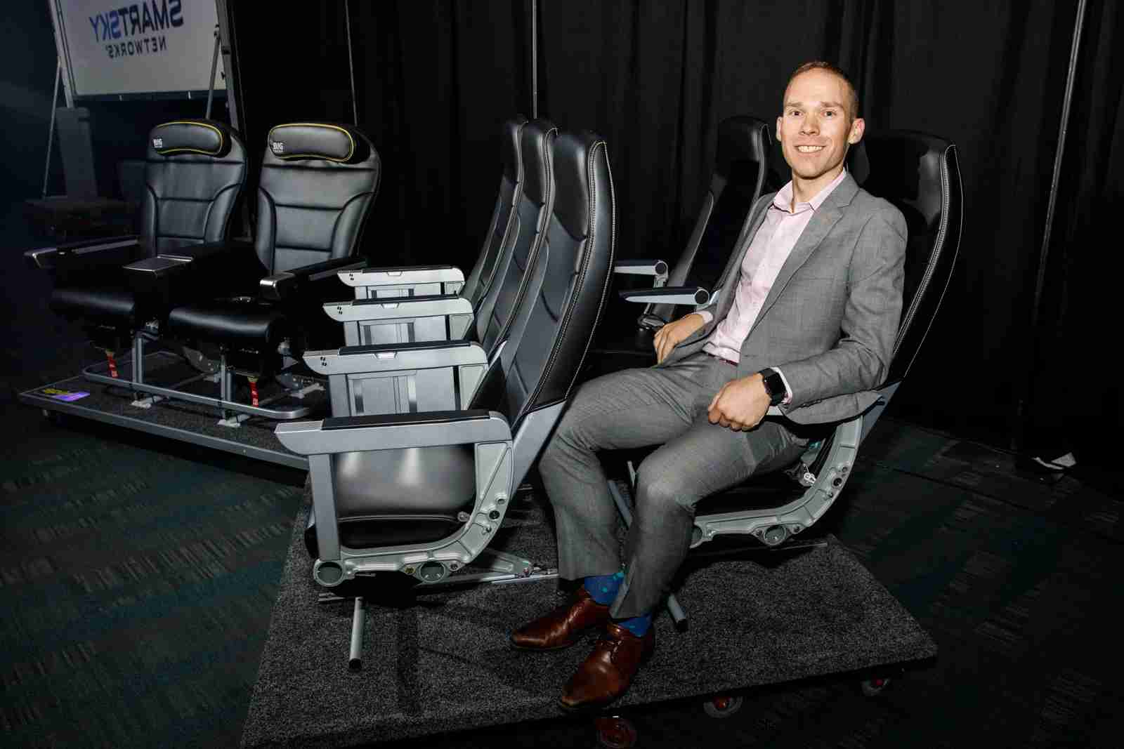 TPG reporter Edward Russell shows off the personal space for Spirit Airlines
