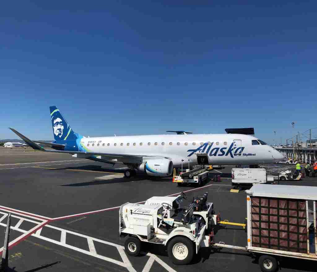 An Alaska Airlines E175 at Portland International Airport. (Photo by Edward Russell/TPG)