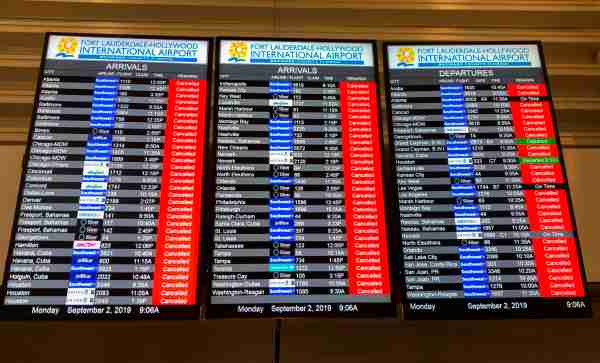 The information board displays all the cancelled flights at the Fort Lauderdale International airport ahead of the arrival of hurricane Dorian at ForT Lauderdale, Florida on September 2, 2019. - Hurricane Dorian battered the Bahamas with ferocious wind and rain, the monstrous Category 5 storm wrecking towns and homes as it churned on an uncertain path toward the US coast where hundreds of thousands were ordered to evacuate. (Photo by Michele Eve SANDBERG / AFP) (Photo credit should read MICHELE EVE SANDBERG/AFP/Getty Images)
