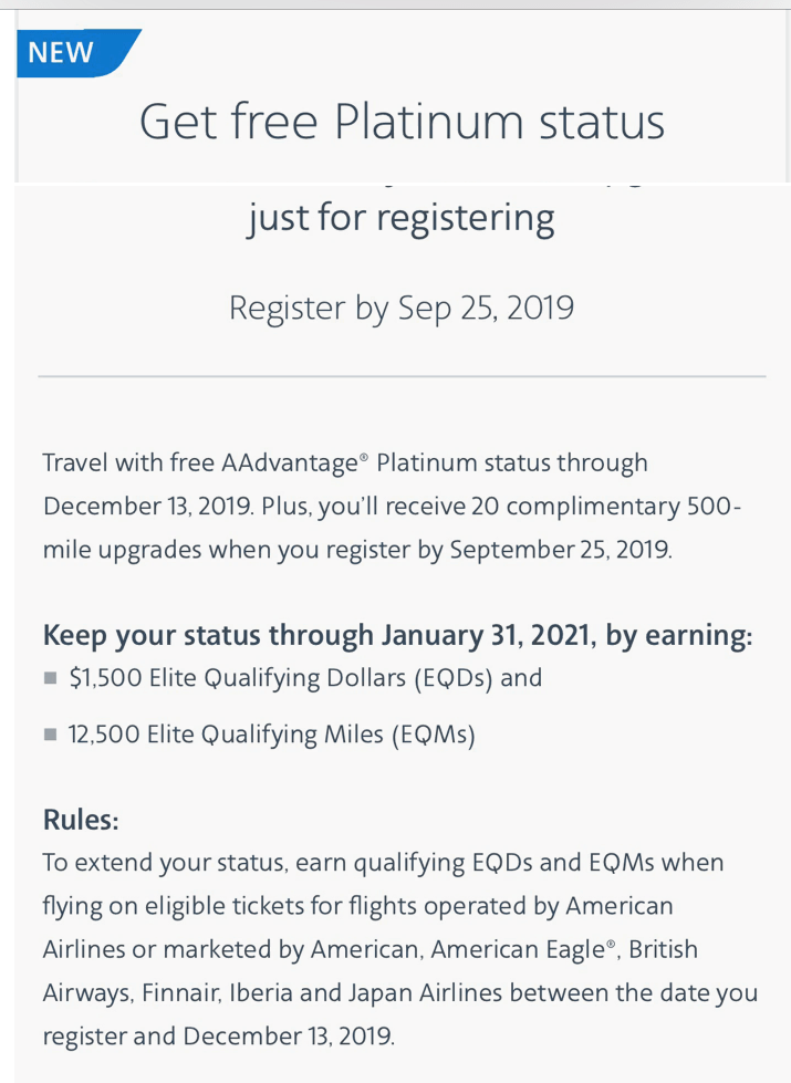 Check to see if you're targeted for free AA elite status