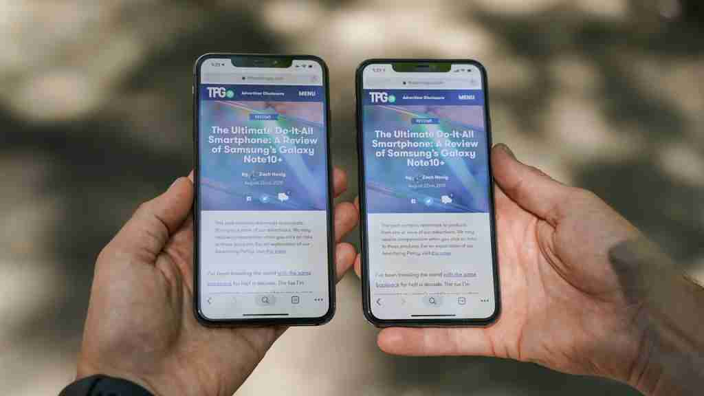 iPhone XS Max (left) with the iPhone 11 Pro Max. (Photo by Orli Friedman/The Points Guy)