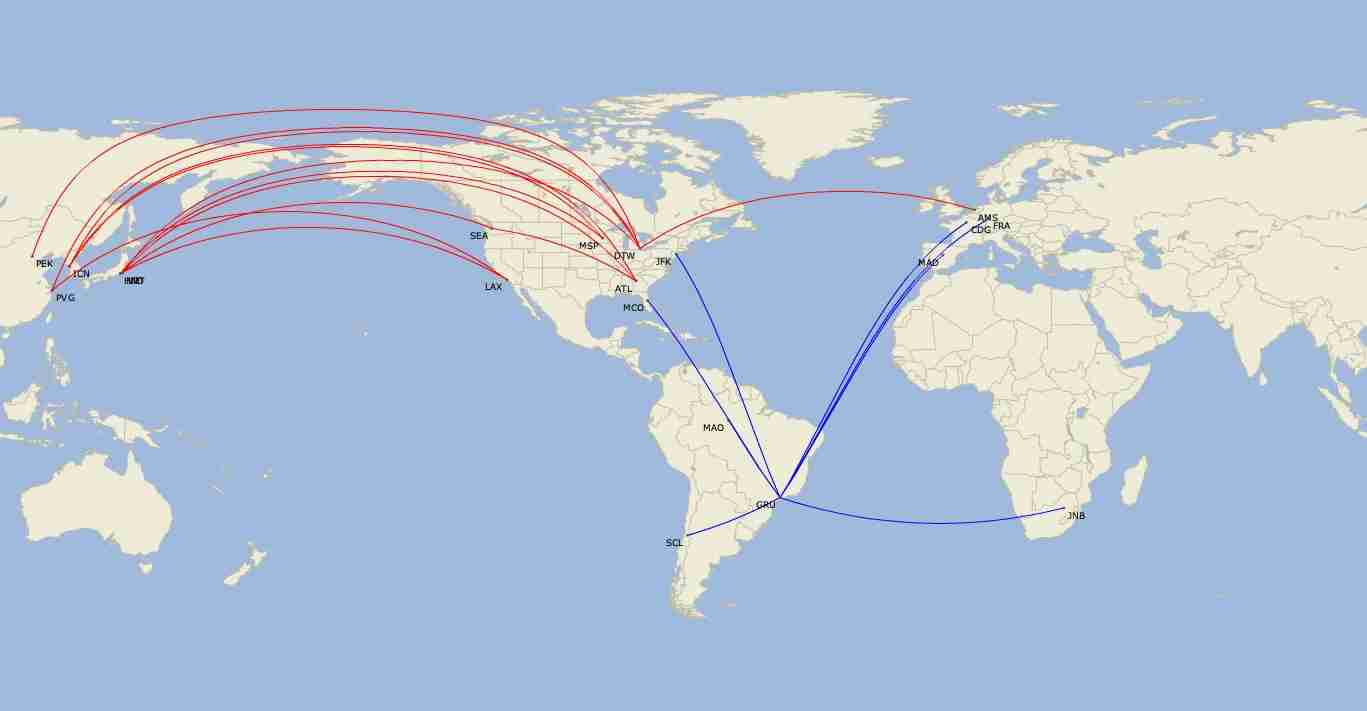 Where Delta (red) and LATAM (blue) fly their A350s in October 2019. (Map by Diio by Cirium)