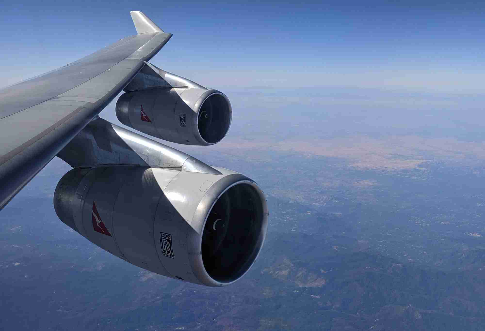 in flight over California