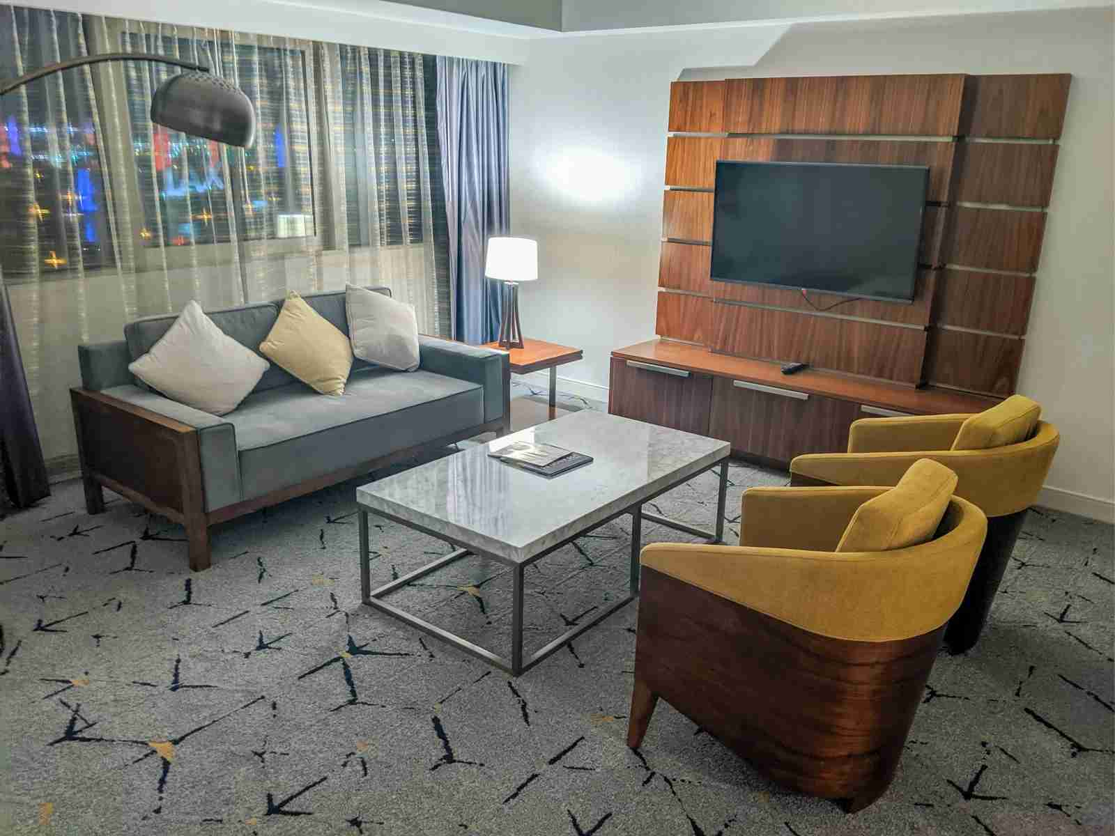 The sitting area of a suite that Katie and I received in May 2019. (Photo by JT Genter/The Points Guy)